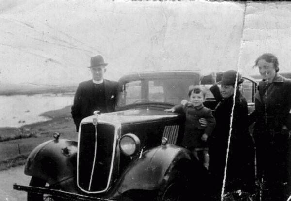 Minister And Family With Car c.1946