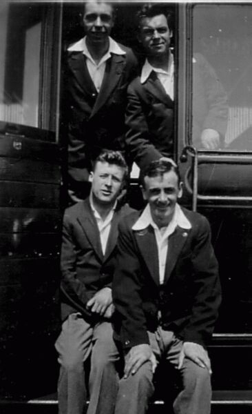 Group Young Men By Carriage Entrance c.1930