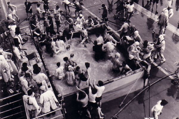 """Naval Recruits Getting An Initiation """"Ducking"""", early 1960s"""