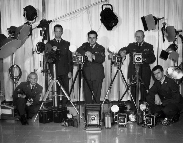 United States Air Force Photographers At RAF Base, late 1950s