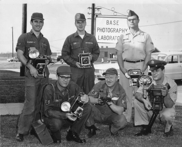 United States Air Force Photographers At RAF Air Base, late 1950s