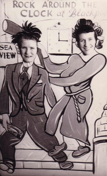 Two Friends Behind Cut-Out Board On Holiday In Blackpool 1956
