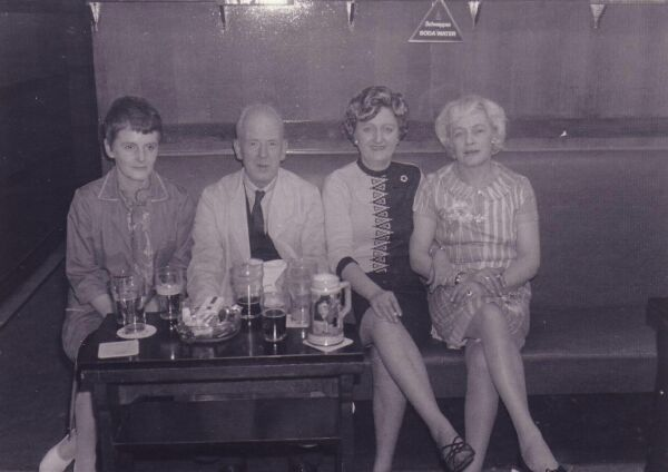 Bar Staff Taking A Drink At The Lochrin Arms In Tollcross 1970