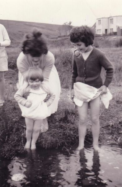 Youngsters Paddling In Brook By The Meldon Hills Near Peebles 1962