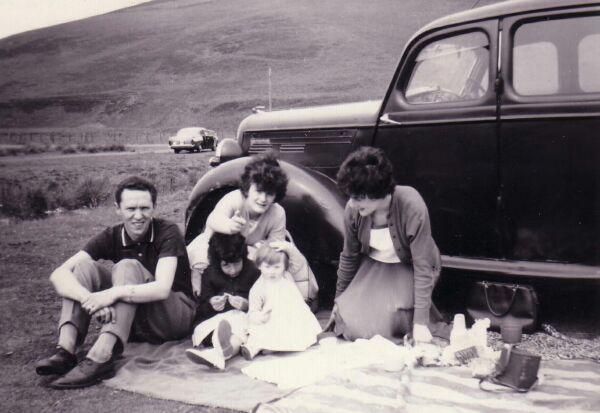 Family Having Picnic By The Meldon Hills Near Peebles c.1962
