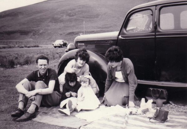 Family Having Picnic By The Meldon Hills Near Peebles c.1962