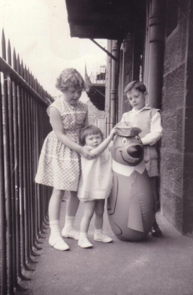 Children Playing With Toy Inflatable Yogi Bear On Balcony Close Of 38 Prince Albert Buildings In Dumbiedykes 1962