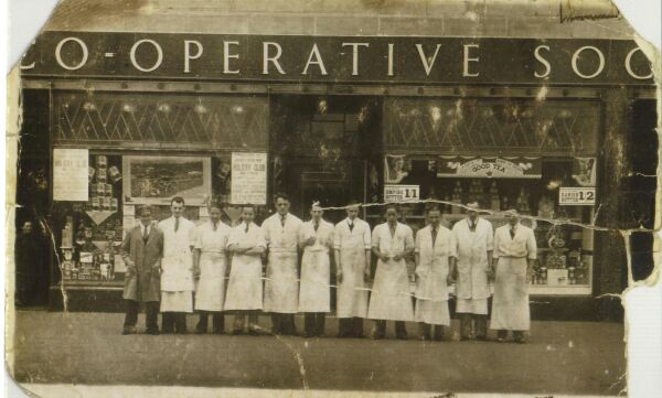 Staff Of The Bangor Road Co-op Standing Outside The Store, late 1920s