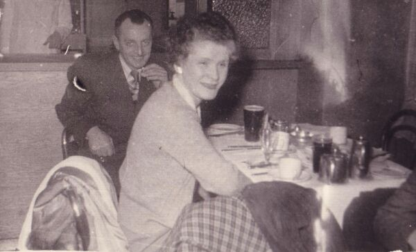 Man And Woman Eating Out At Bar c.1959