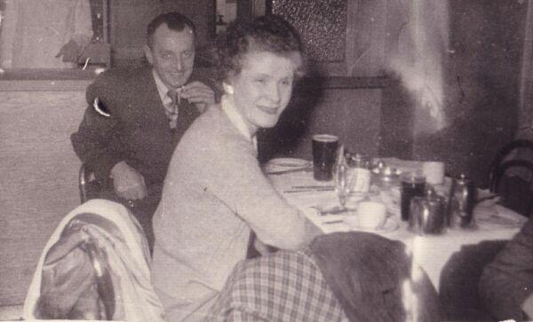 Man And Woman Eating Out At Bar c.1959