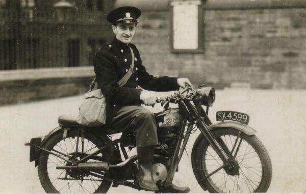 Auxilliary Fire Service Member Sitting On Excelsior Motorbike Outside Dr Bell's School 1940