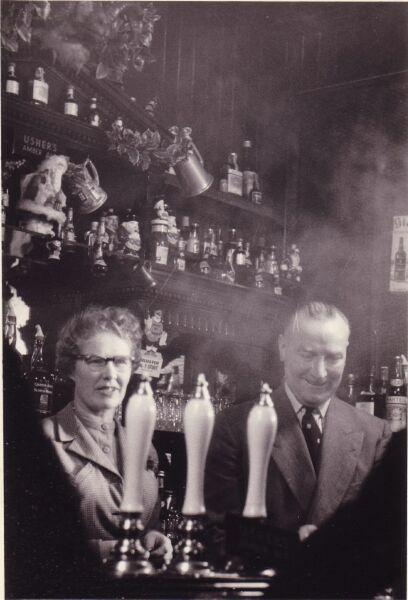 Landlord And Landlady Serving Behind The Bar c.1956