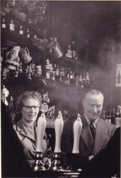 Landlord And Landlady Serving Behind The Bar At The Kirknewton Inn c.1956