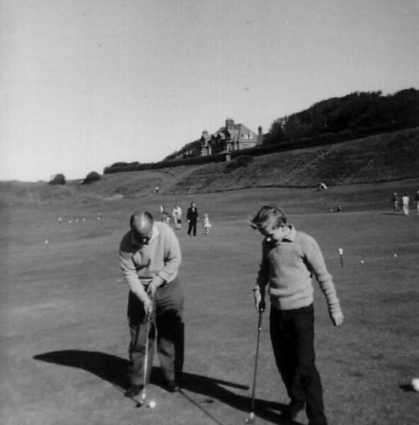 Father And Son On The Putting Green At North Berwick 1964