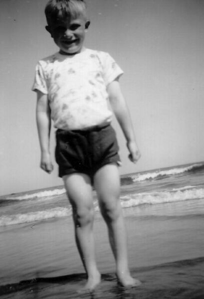 Young Boy Paddling In The Sea At Belhaven 1960