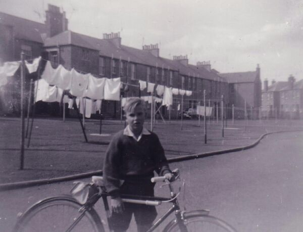 Boy With Bicycle In Front Of Drying Green At Clark Buildings In Ormiston 1962