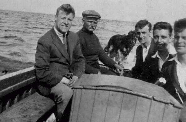 Young Men On Small Boat Trip c.1930