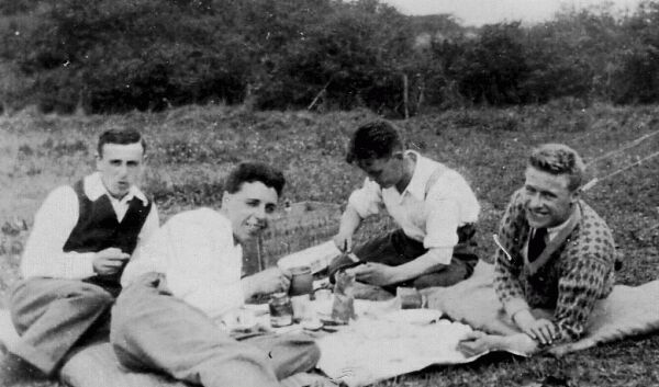 Four Young Men Having A Camping Picnic Near Aberdour c.1930