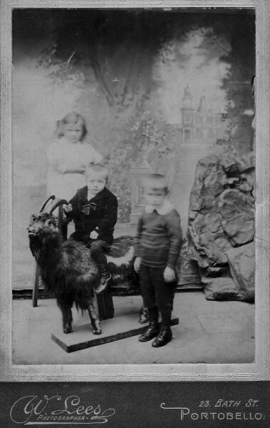 Family Children Studio Portrait With Stuffed Goat c.1910