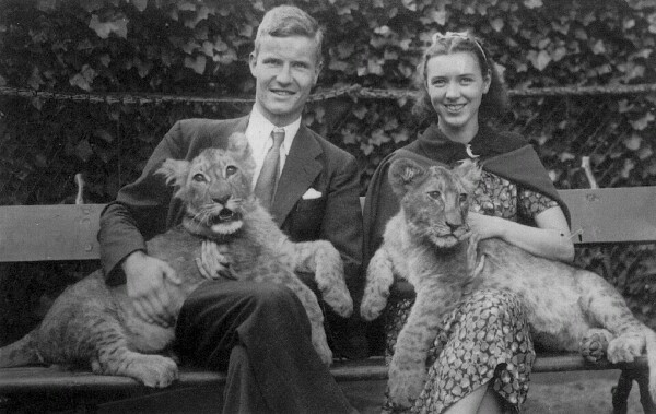Young Couple Sitting With Lion Cubs On Lap At Berlin Zoo, August 1937