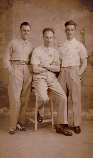 Studio Portrait Three Men In Casual Dress On Holiday In Blackpool c.1950