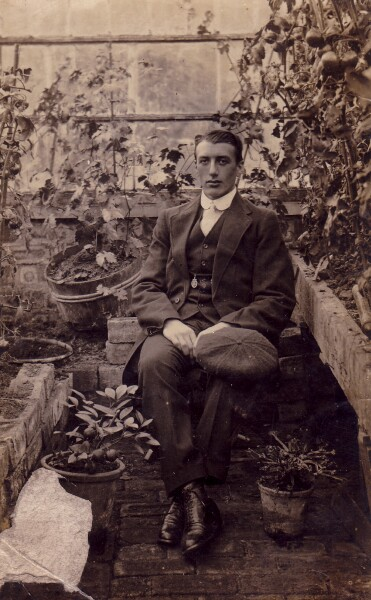 Edwardian Gentleman Sitting In Greenhouse c.1910