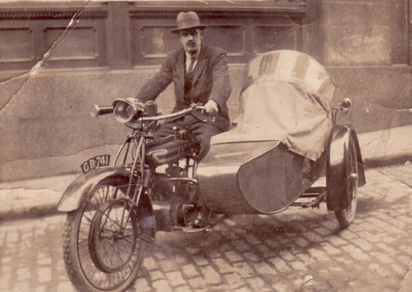 Man In Motorcycle And Sidecar 1920s