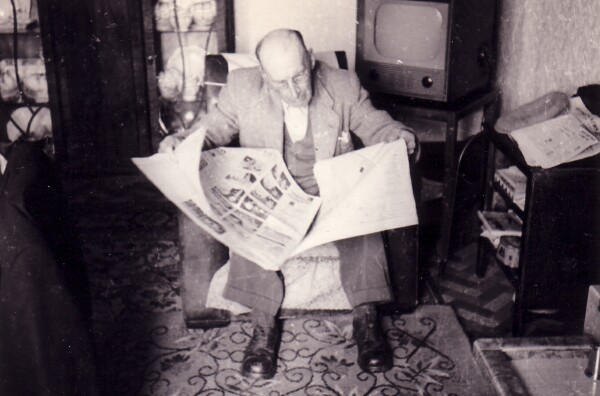 Man Reading Newspaper In Living Room 1957