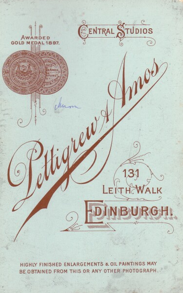 Advertising On Reverse Of Cabinet Card c.1910