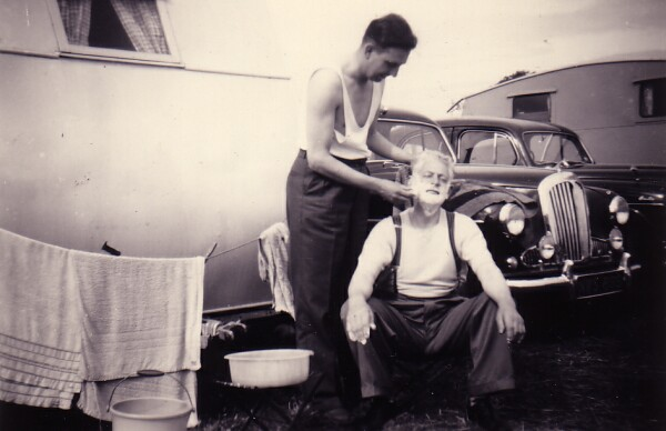 Morning Shave At Caravan Park In North Berwick 1950s