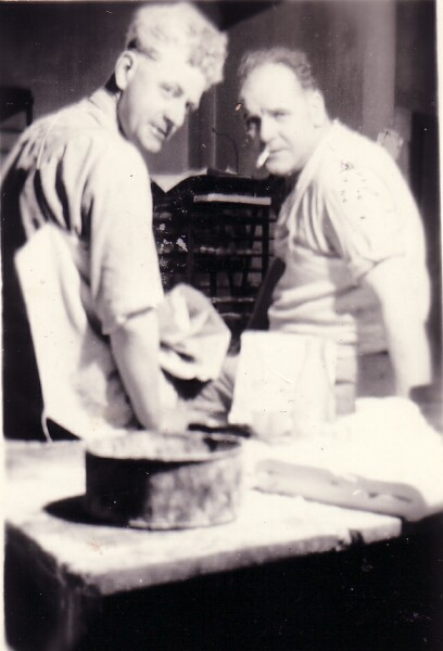 Two Bakers Taking Break At Middleton's Bakery In Cowdenbeath 1960s