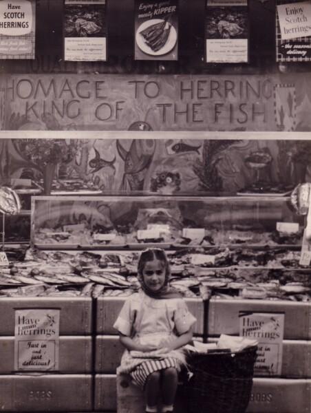 Young Girl Outside Fishmongers 1950