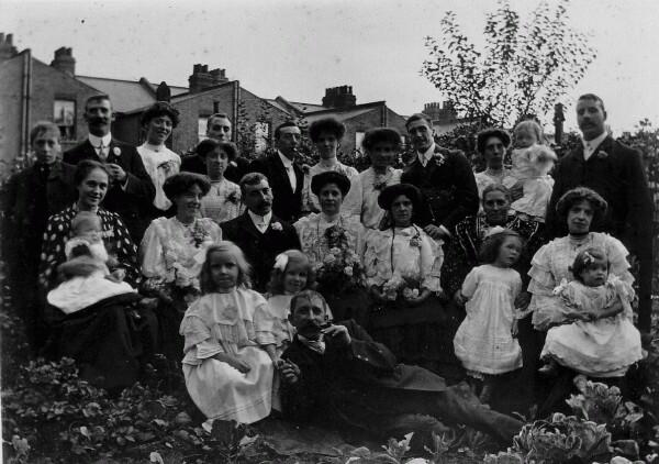 Group Wedding Portrait In Garden 1908