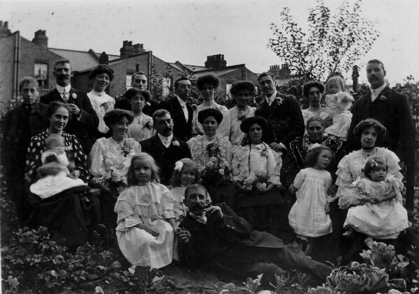 Group Wedding Portrait In Garden 1908