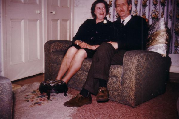 Couple Sitting At Home In Thire Living Room At 39 Northfield Crescent c.1964