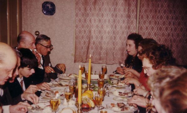 Family Enjoying A New Year's Day Dinner At 43 Northfield Crescent 1964