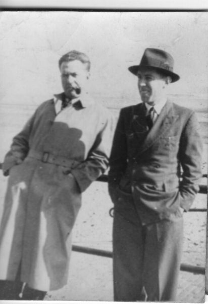 Two Men Standing On The Promenade Opposite Their Tenement At 9 Promenade Terrace, early 1950s