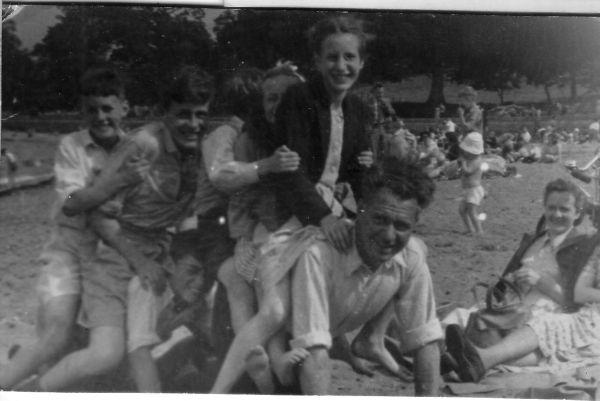 Family Fun On Cramond Beach c.1950