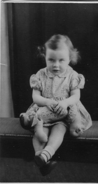 Studio Portrait Young Girl With Alphabet Doll c.1943