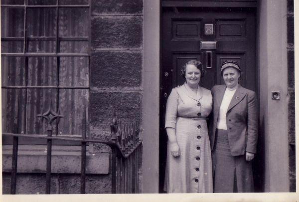 Two Women Standing In Tenement Doorway At 8 Salisbury Street, early 1950s