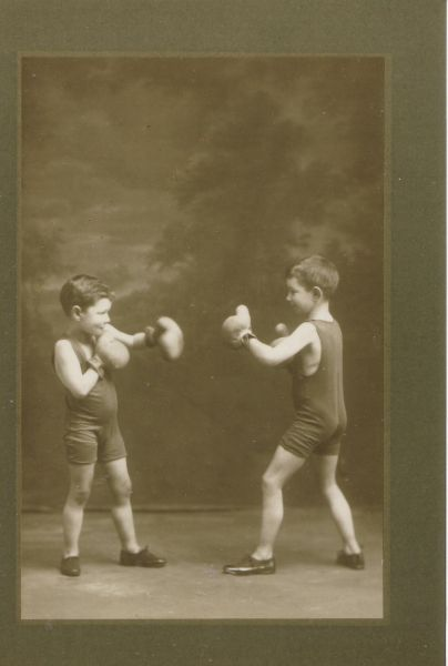 Studio Portrait Two Brothers Boxing c.1913