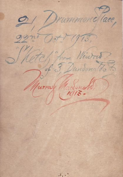 Inscription On Reverse Of Painting By Murray Macdonald 1913