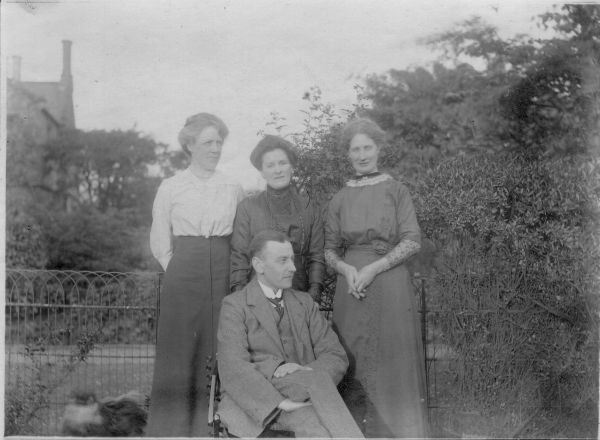 Three Ladies And Gentleman In Garden c.1920