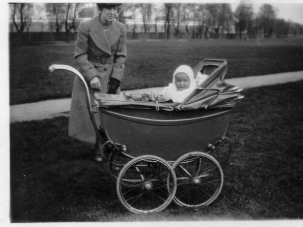 Woman With Baby In Pram At The Park 1938
