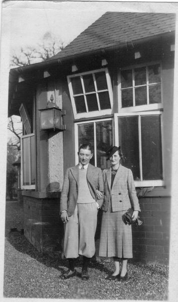 Couple Standing Outside Duddingston Golf Course Clubhouse c.1935