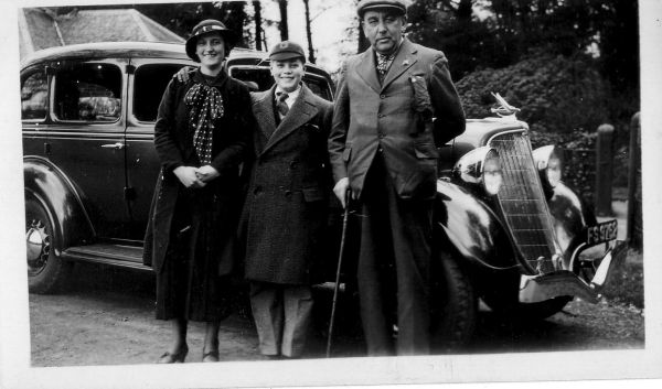 Family Standing In Front Of Hire Car, late 1930s