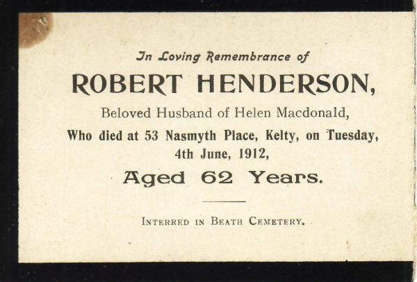 In Memoriam Card For 1912