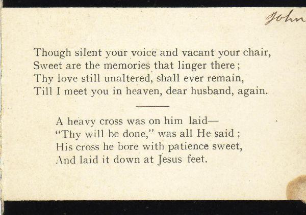 Reverse Of In Memoriam Card 1912
