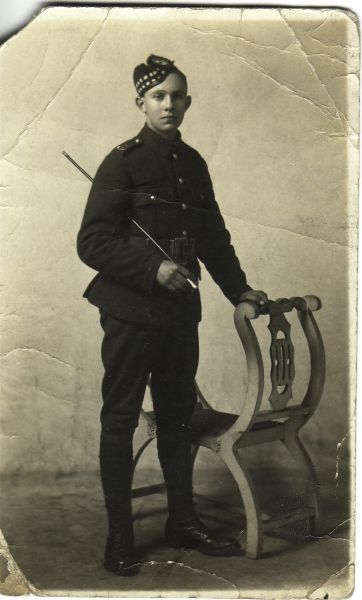 Studio Portrait Young Soldier Of The Royal Scots 1914-18