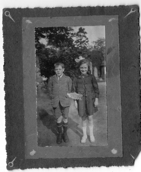 Brother And Sister On Sunday Walk To Place Flowers At Family Grave c.1920